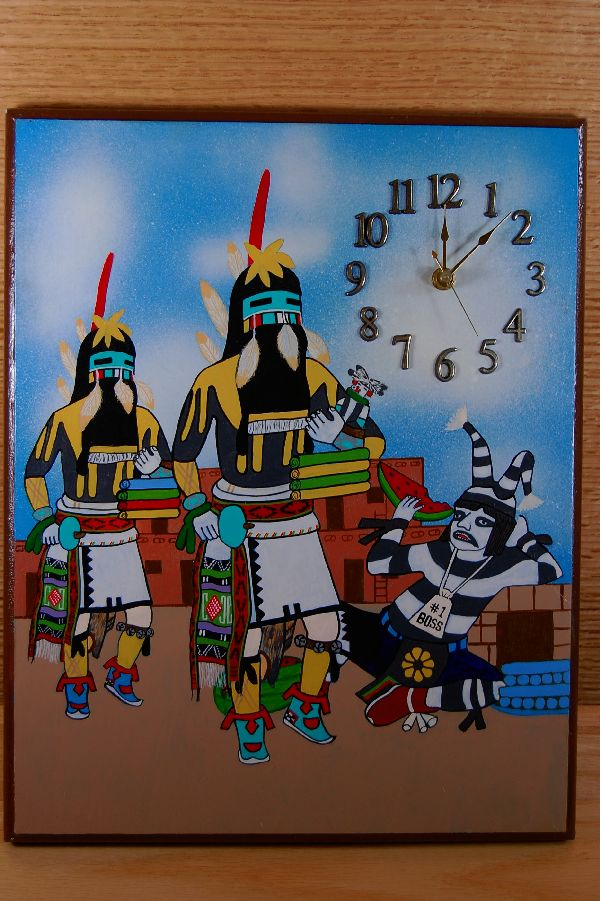 Hopi Long Hair Kachina Hand Painted Clock