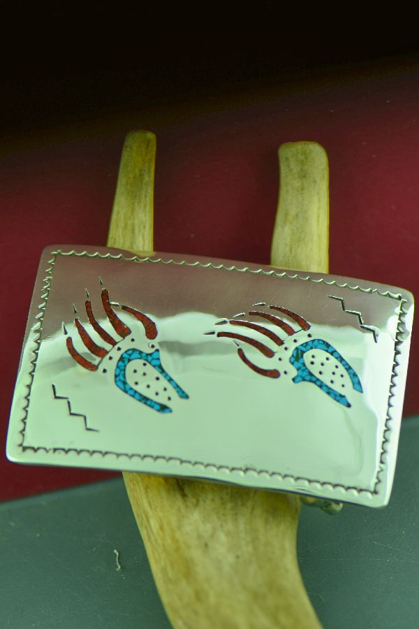 Kee Begay Bear Paw Turquoise and Coral Buckle