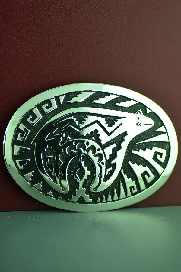 Navajo Sterling Silver Spirit Line Bear Belt Buckle by Rosita Singer