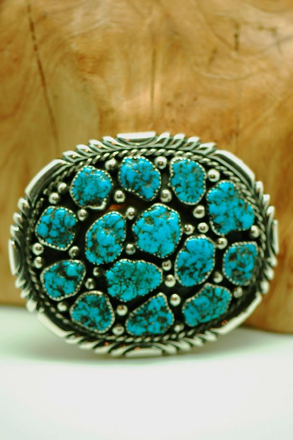 Natural Seafoam Turquoise Sterling Silver Belt Buckle