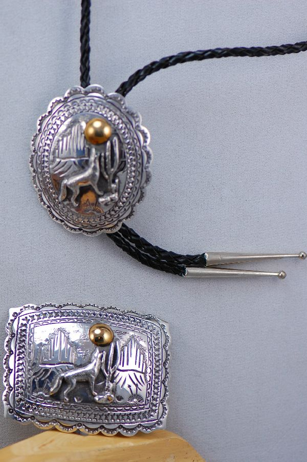 Sterling Silver Wolf Buckle and Bolo Tie Set