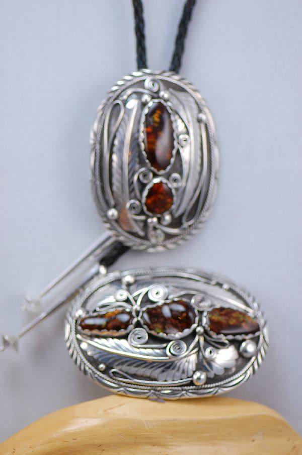 Fire Agate Buckle and Bolo Tie