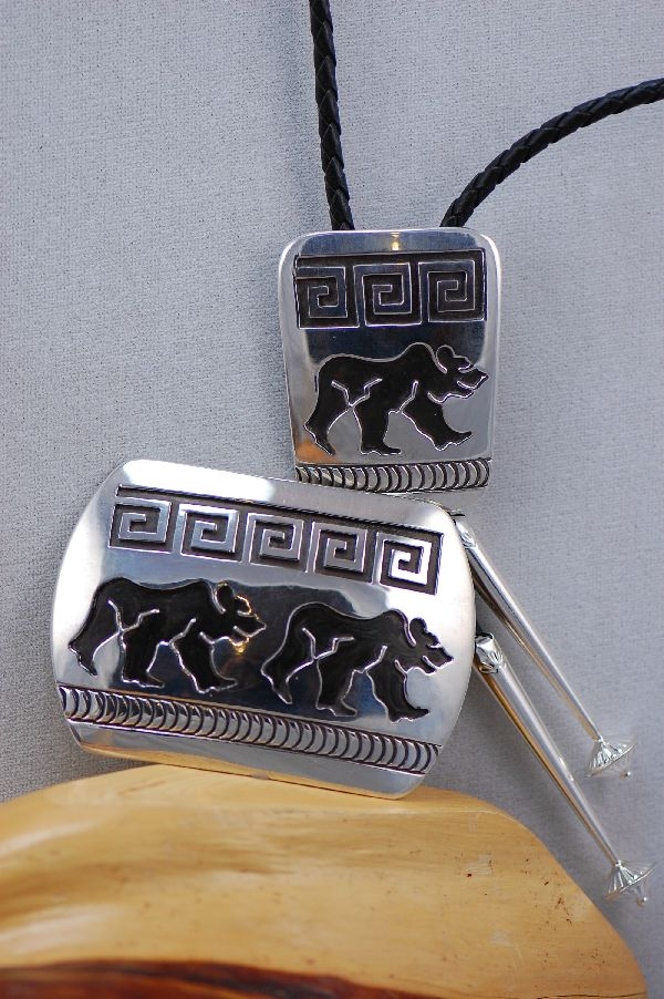 Sterling Silver Bear Buckle and Bolo Tie