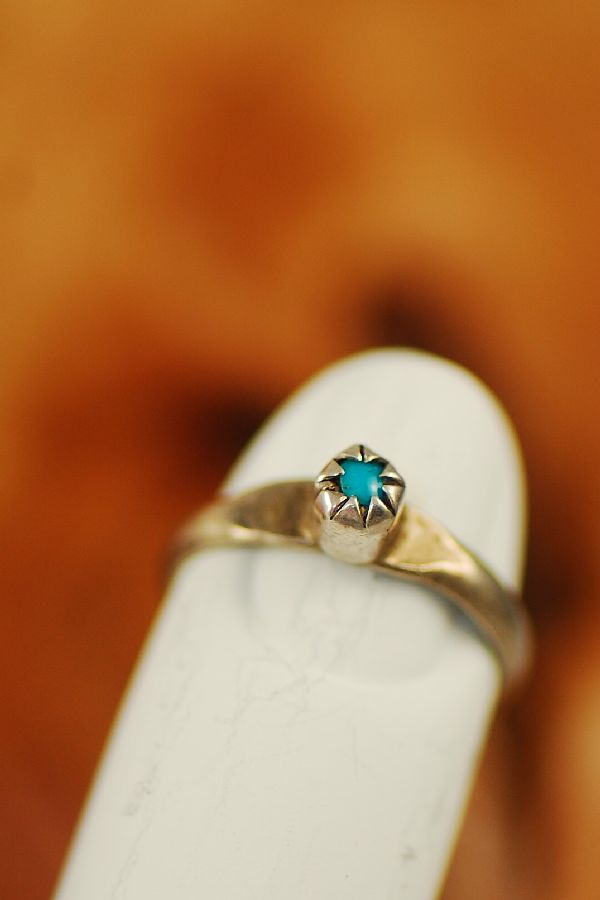 Turquoise Baby Ring Sterling Silver