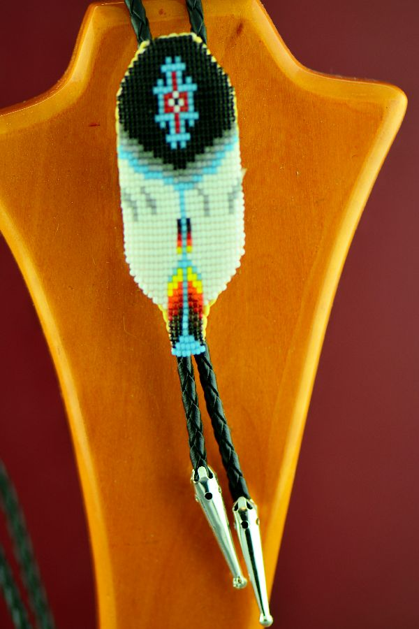 Authentic Prayer Feather Beaded Bolo Tie