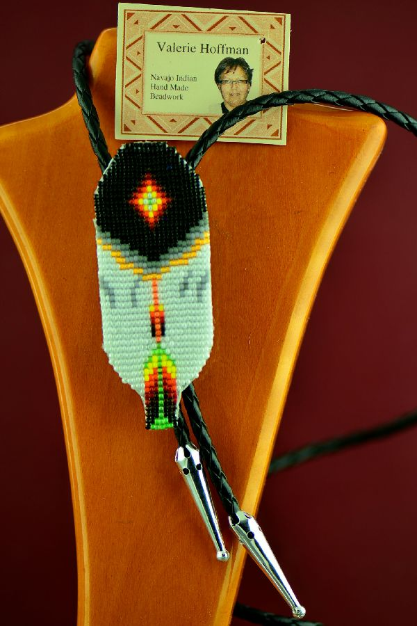 American Indian Prayer Feather Beaded Bolo