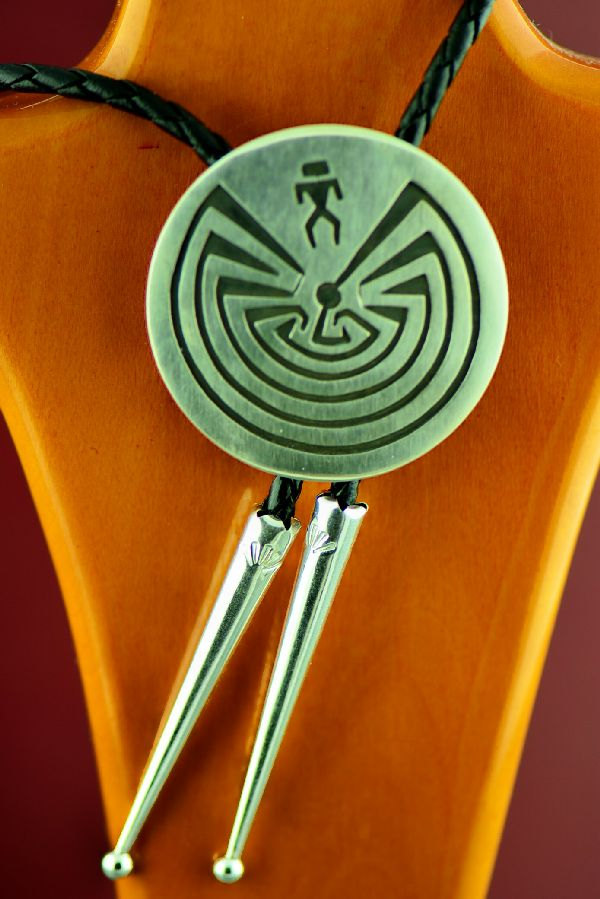 Hopi Style Man in the Maze Bolo Tie