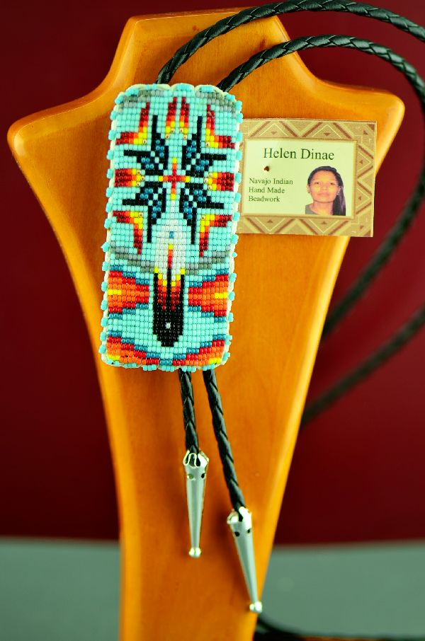 Native American Prayer Feather and Starburst Beaded Bolo Tie