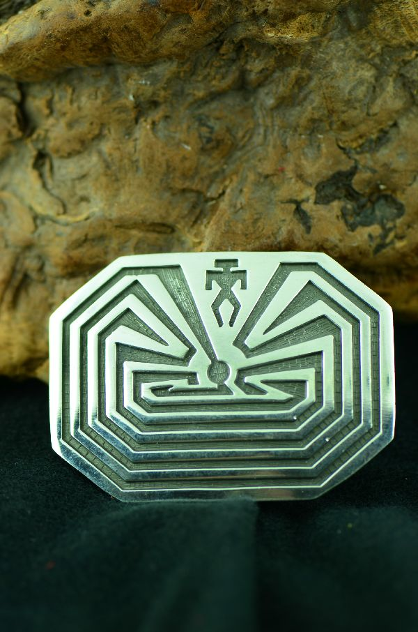 Sterling Silver Man in the Maze Belt Buckle