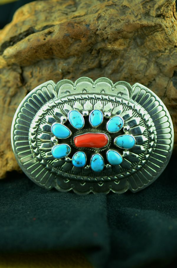 Morenci Turquoise and Natural Mediterranean Coral Belt Buckle