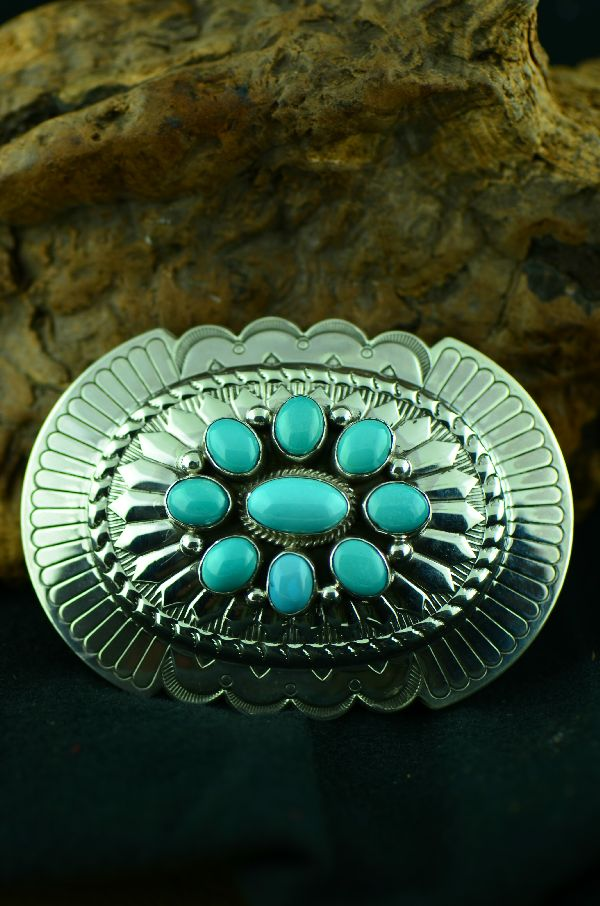 Navajo Morenci Turquoise Cluster Belt Buckle