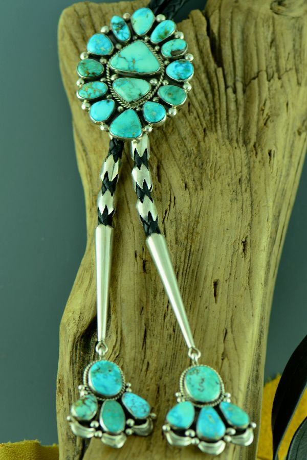 Navajo Natural Fox Turquoise Cluster Bolo Tie