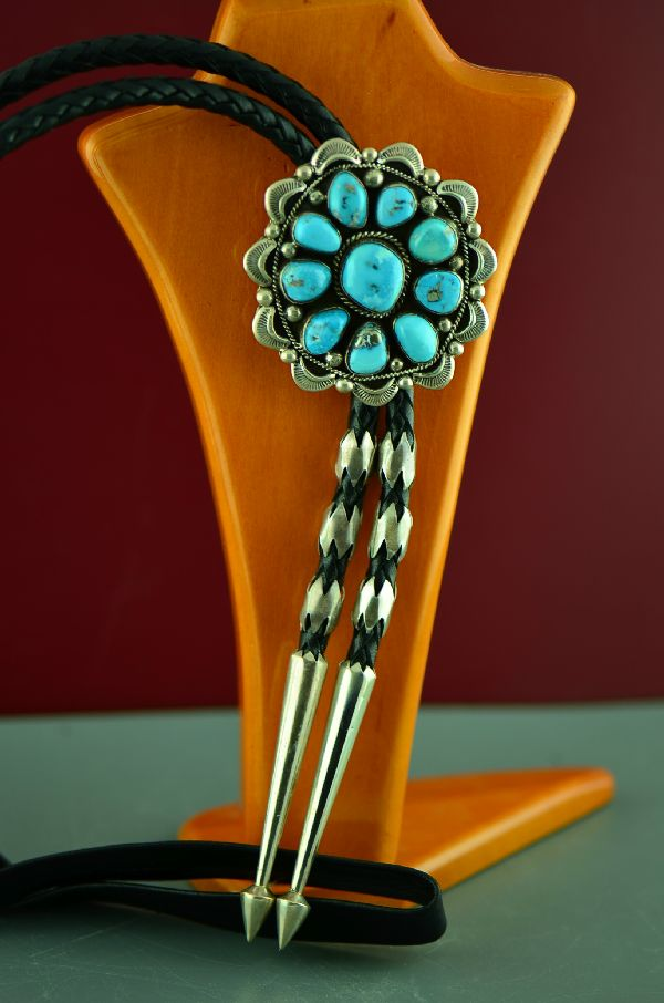 Will Denetdale Natural Morenci Turquoise Bolo