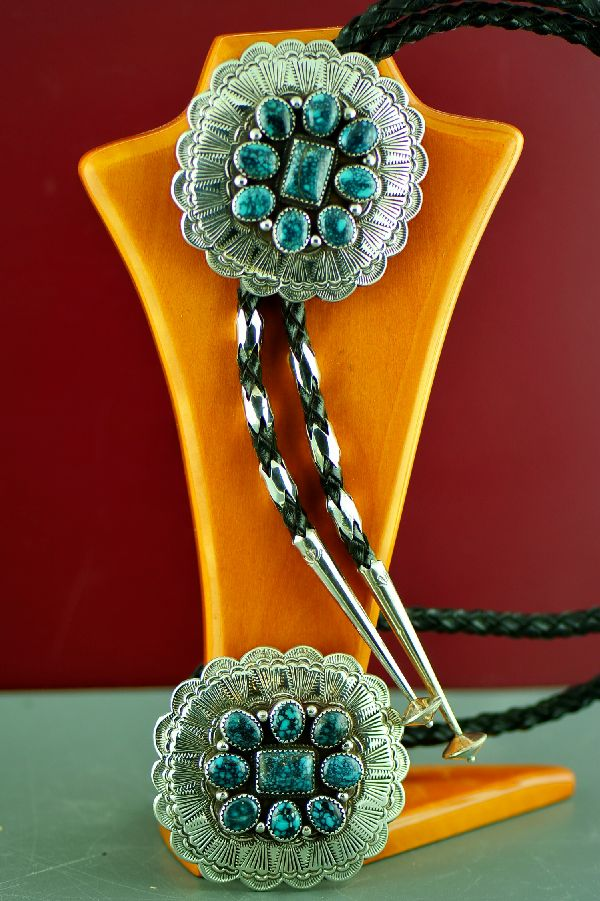Native American Super X Turquoise Buckle and Bolo Tie