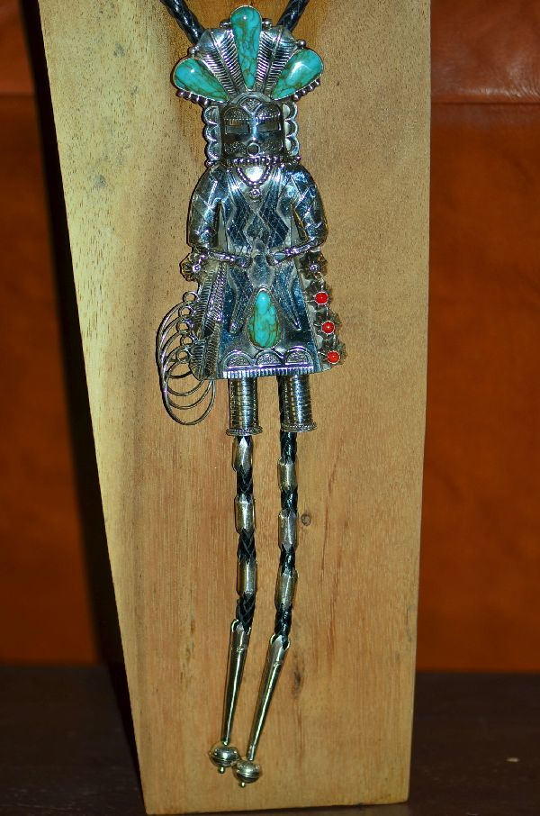 Large Sterling Silver Kachina Bolo Tie