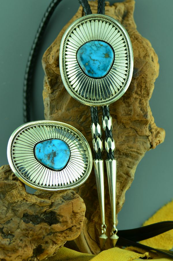 Natural Kingman Turquoise Buckle and Bolo Tie