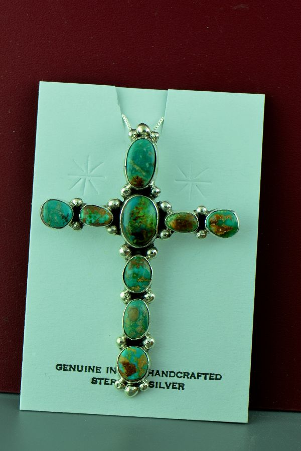 Navajo Natural Fox Turquoise Cross