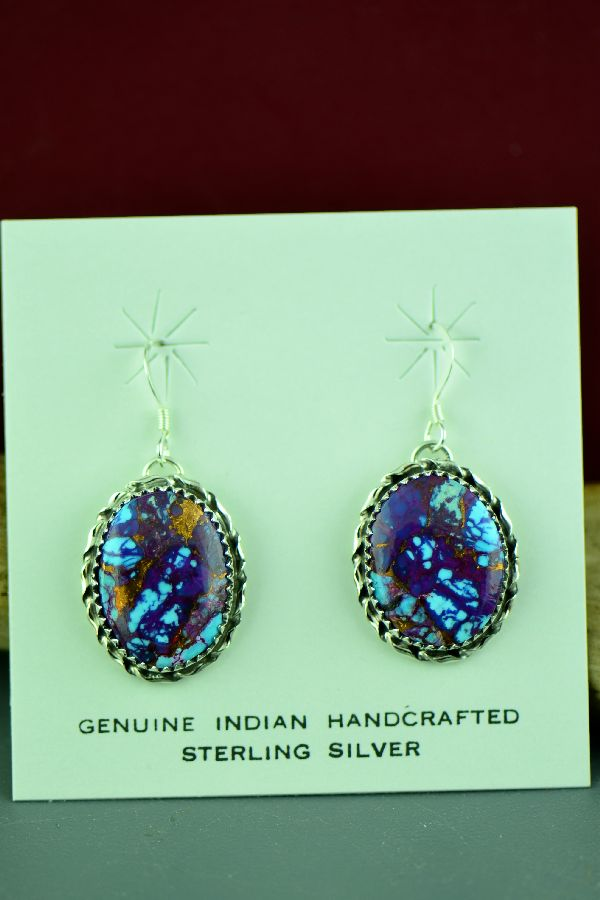Alvin Joe Mohave Purple Turquoise Earrings