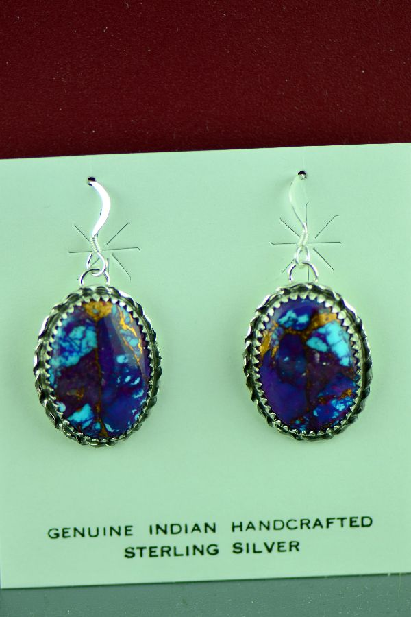 Authentic Native American Mohave Purple Turquoise Earring