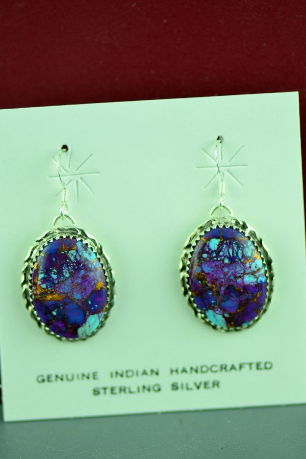 Authentic American Indian Mohave Purple Turquoise Earrings