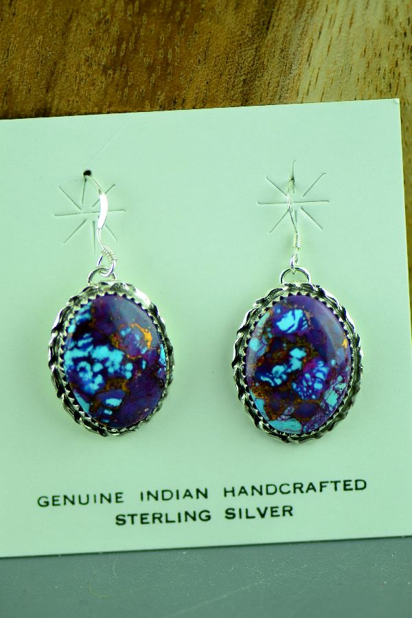 Native American Mohave Purple Turquoise Earrings
