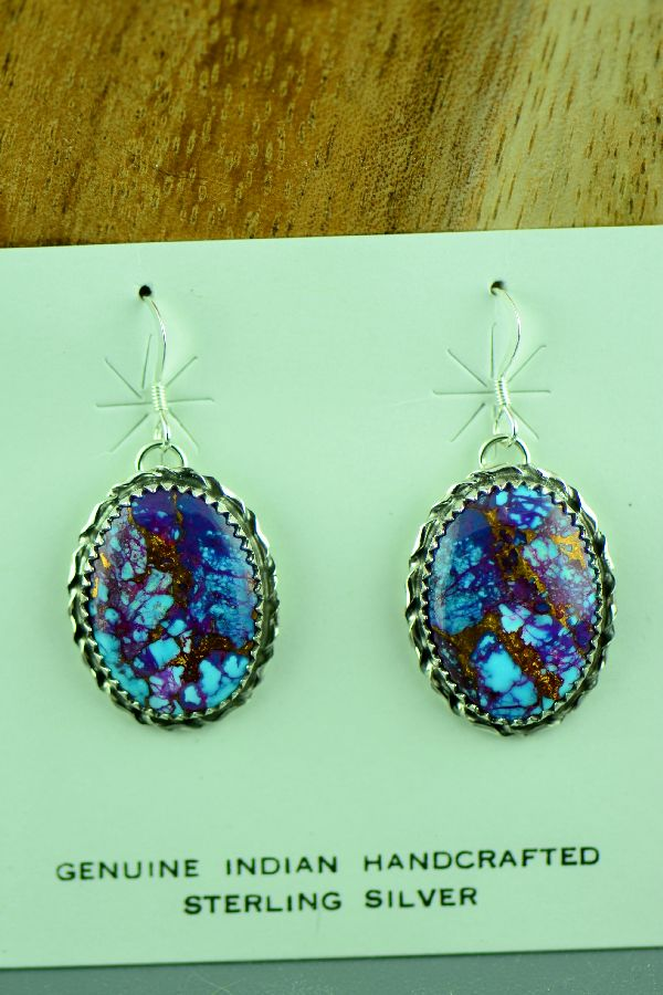 Alvin Joe Navajo Mohave Purple Turquoise Earrings