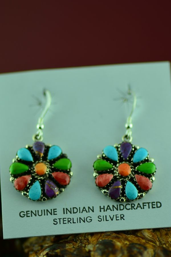 Native American Sterling Silver Cluster Earrings