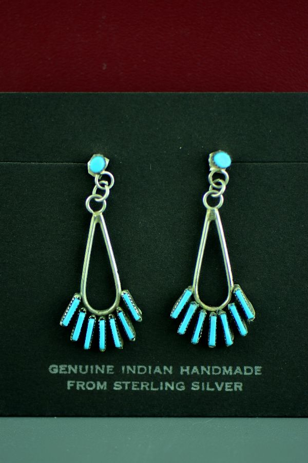 Zuni Needle Point Turquoise Silver Earrings