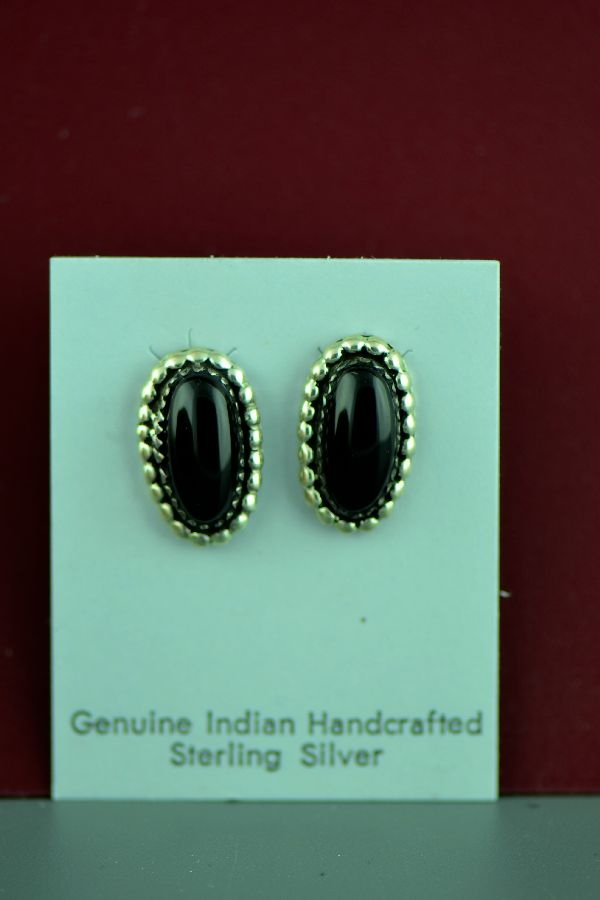 American Indian Black Onyx Silver Earrings