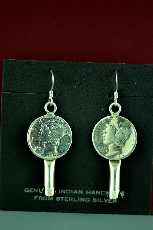 Squash Blossom Dime Earrings American Indian