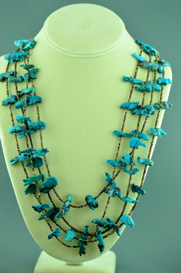 Zuni Four Strand Kingman Turquoise Fetish Necklace