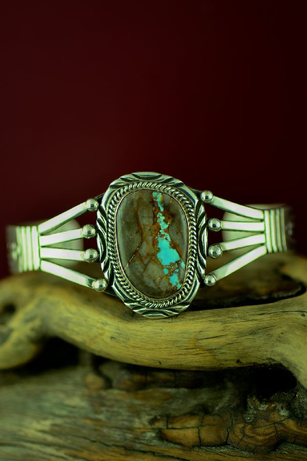 American Indian Blue Ribbon Turquoise Bracelet