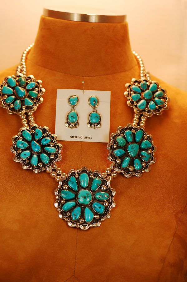 Natural Morenci Turquoise Cluster Necklace