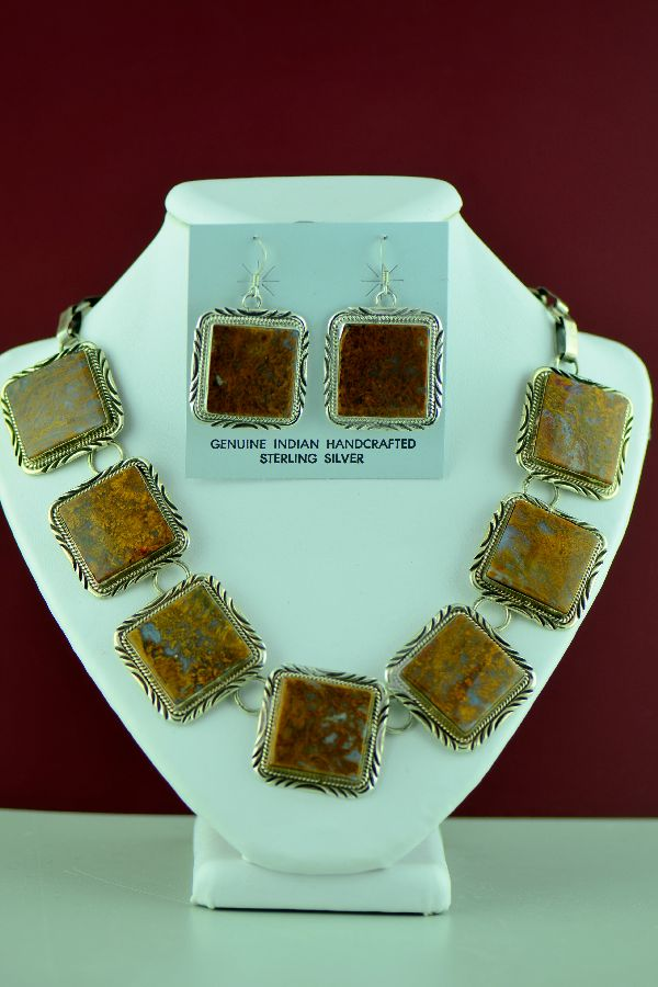 Brecciated Jasper Necklace and Earrings