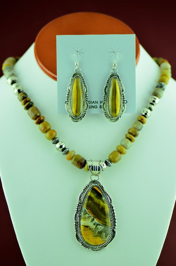 e8a5117e6 Navajo – Sterling Silver Bumble Bee Jasper Necklace, Pendant and Earrings  by Will Denetdale