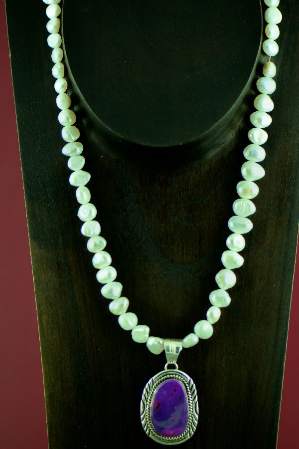 Turquoise Pendant and Cultured Pearl Necklace
