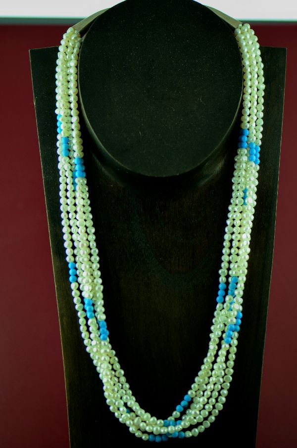Navajo 5 Strand Fresh Water Pearl and Turquoise Necklace