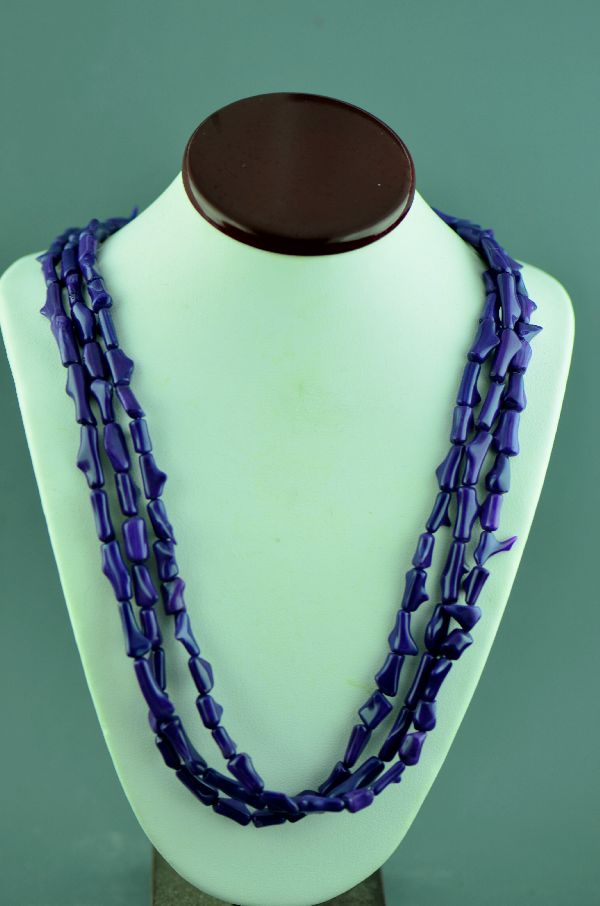 American Indian Dyed Purple Coral Necklace