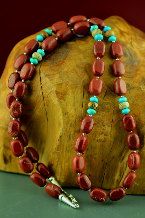 Native American Red Jasper and Turquoise Necklace