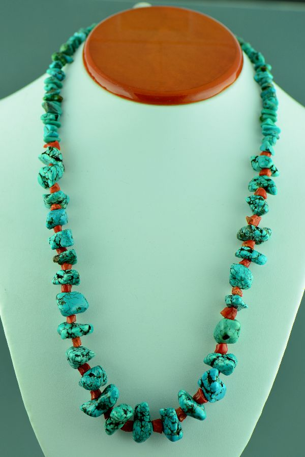 Navajo Old Kingman Turquoise and Coral Necklace