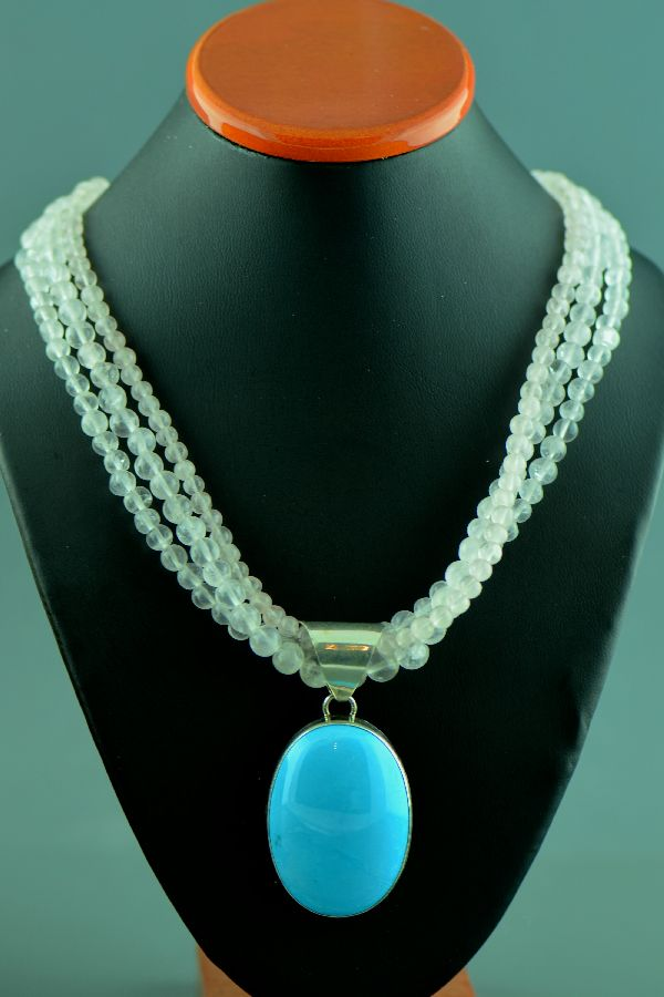 Turquoise and Rose Quartz Navajo Necklace