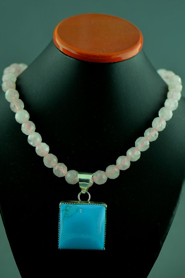 Navajo Rose Quartz and Turquoise Necklace