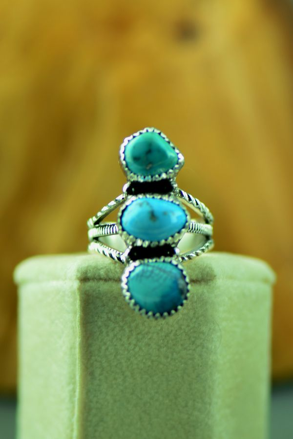 Navajo Three Stone Fox Turquoise Ring