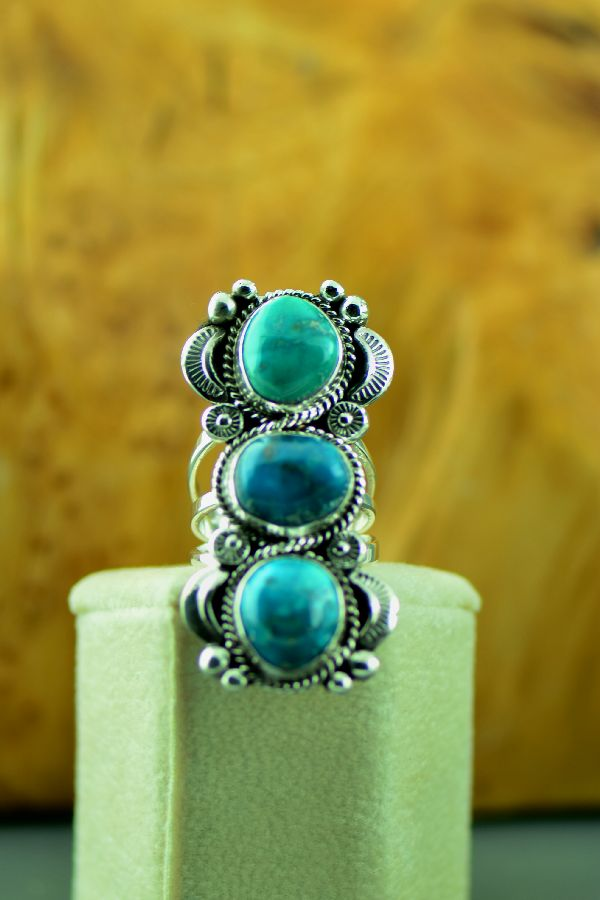 Navajo Three Stone Bisbee Turquoise Ring