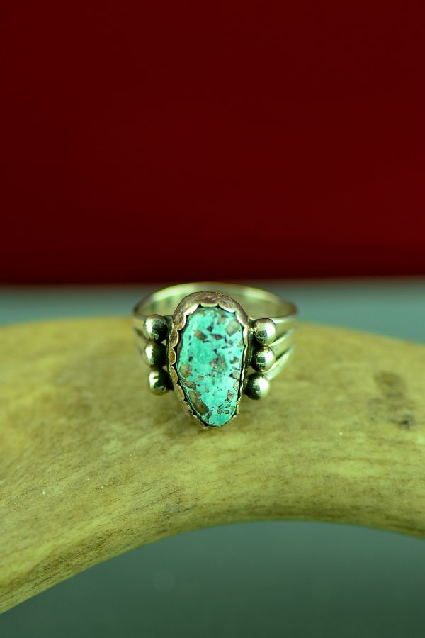 Native American Fox Turquoise Rings Size 7