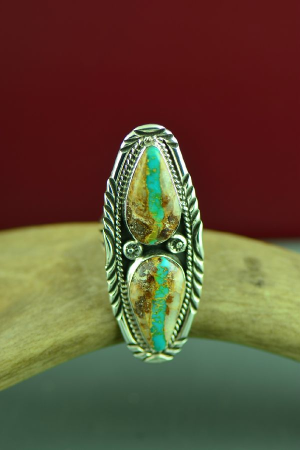 Unique Blue Ribbon Turquoise Ring Navajo