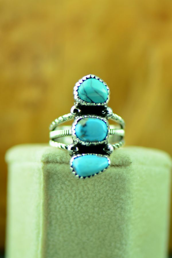 Size 6 Morenci Turquoise Native American Ring