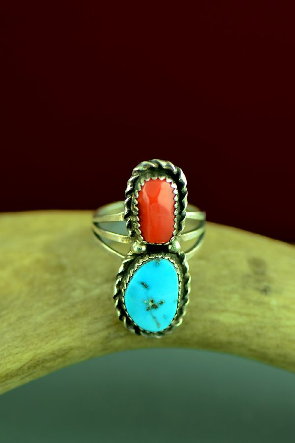 Sleeping Beauty Turquoise and Mediterranean Coral Ring