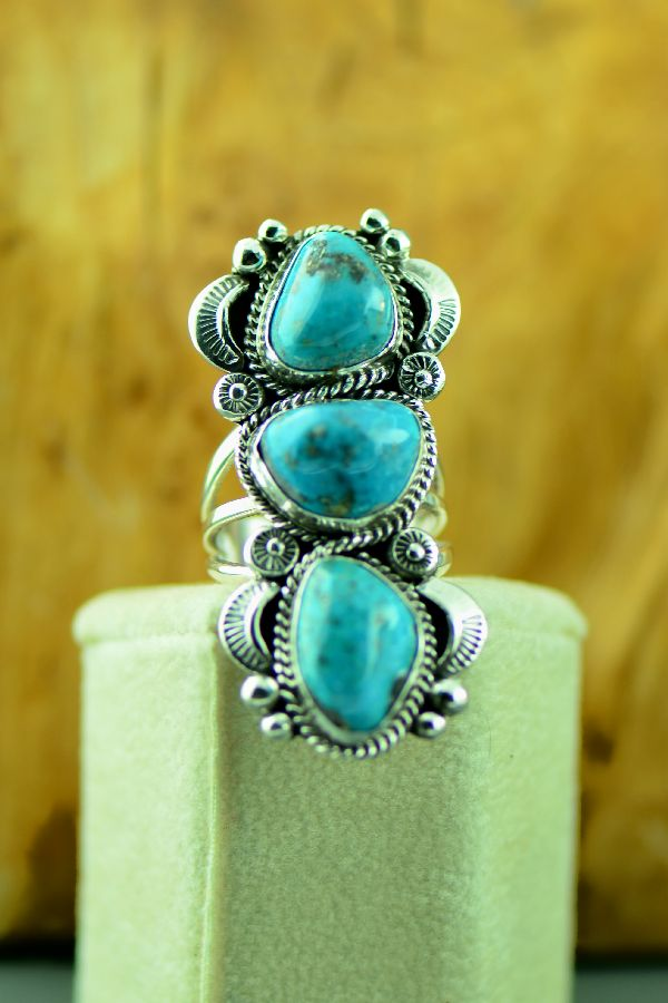 Ladies Three Stone Morenci Turquoise Navajo Ring