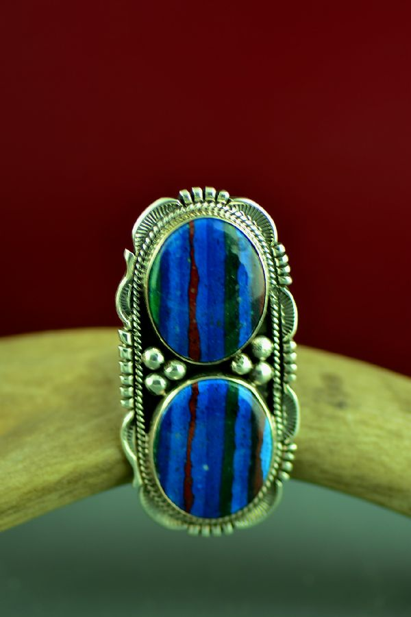 American Indian Rainbow Calsilica Ring